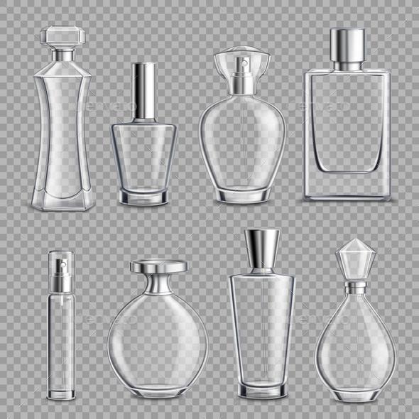 Perfume Glass Bottles Realistic Transparent - Backgrounds Decorative