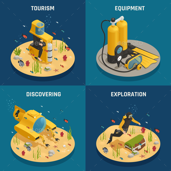 Underwater Equipment 4 Isometric Icons - Miscellaneous Vectors