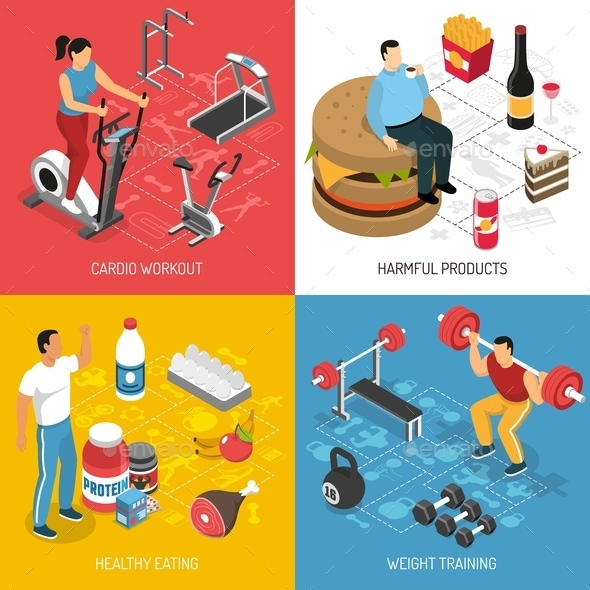 Fitness Sport Nutrition Isometric Concept - People Characters