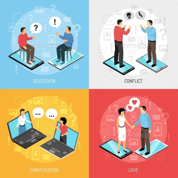 Chatting People Isometric Icons Concept - People Characters