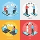 Chatting People Isometric Icons Concept