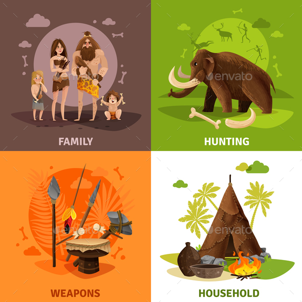 Stone Age 2x2 Design Concept - Animals Characters