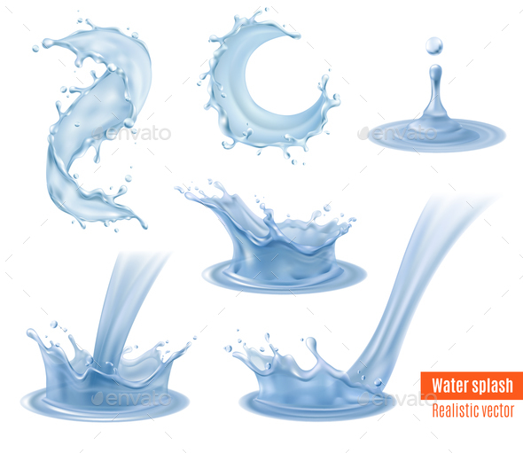 Water Splashes Realistic Set - Sports/Activity Conceptual