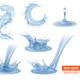 Water Splashes Realistic Set