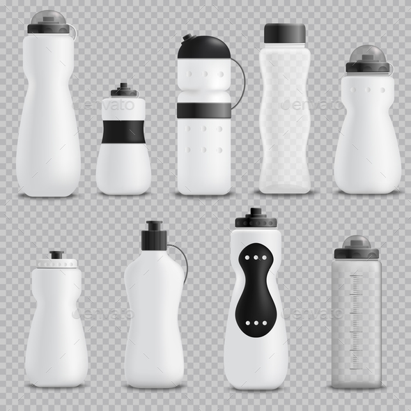 Fitness Bottles Realistic Set Transparent - Sports/Activity Conceptual