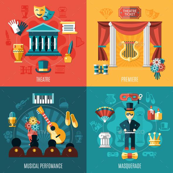 Theatre Icon Set - Business Conceptual