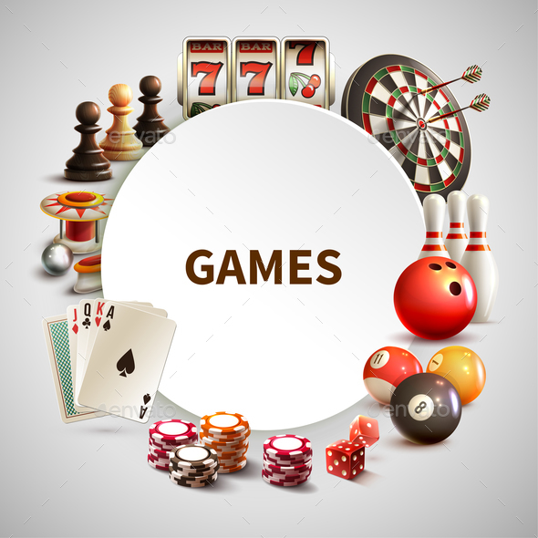 Games Realistic Round Frame - Sports/Activity Conceptual