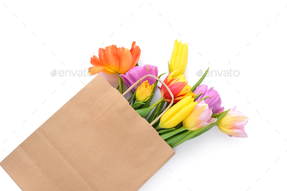 Fresh colorful tulip flowers in paper bag on white background - Stock Photo - Images