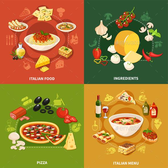 Italian Food 2x2 Design Concept - Food Objects