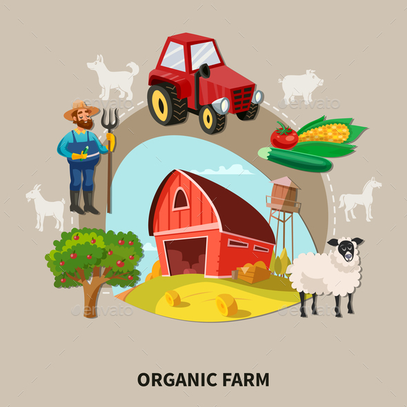 Farm Cartoon Composition - Food Objects