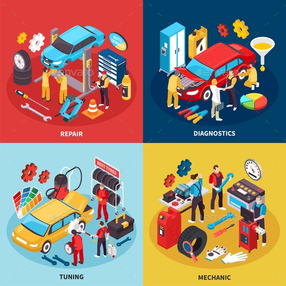 Auto Service Concept Icons Set - Computers Technology