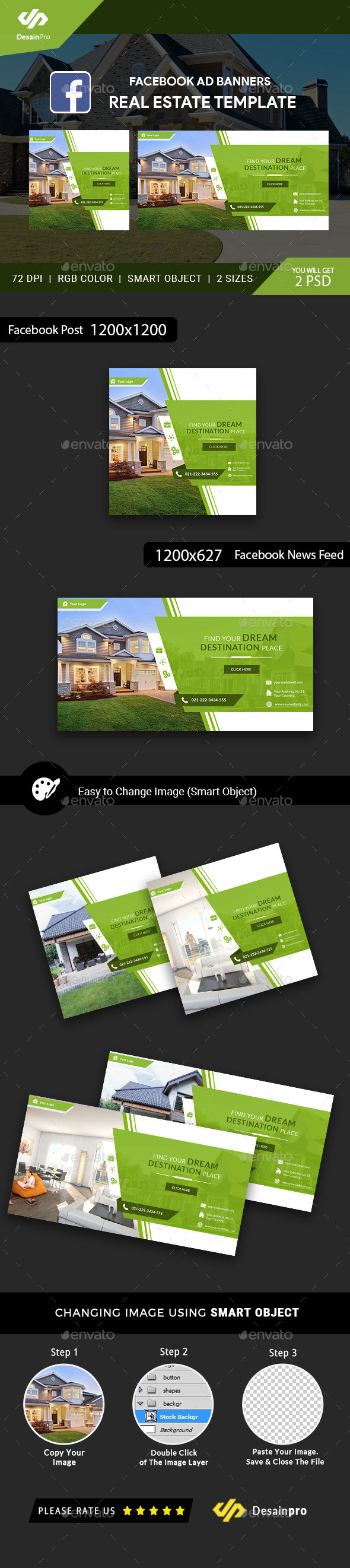 Real Estate FB Ad Banners - AR - Social Media Web Elements