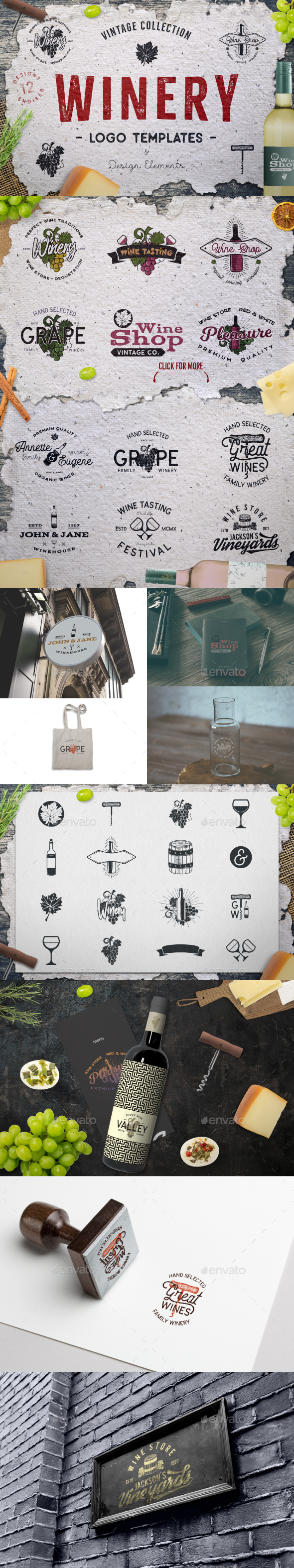 Winery Logo Designs & Wine Elements - Badges & Stickers Web Elements