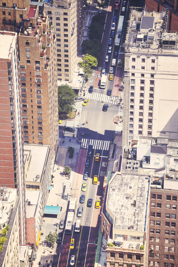 Aerial picture of street in New York City, USA. - Stock Photo - Images