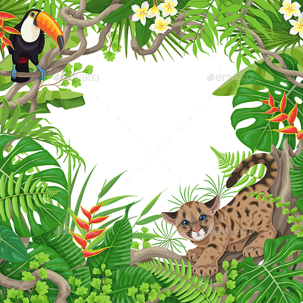 Tropical Frame with Plants and Animals - Borders Decorative
