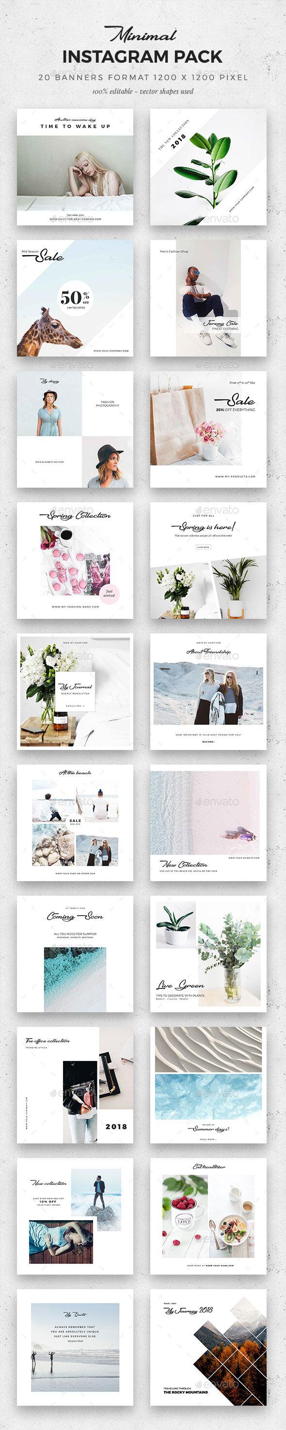 Minimal Instagram Pack - Social Media Web Elements