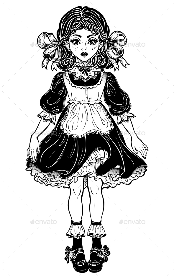 Victorian Little Girl in Vintage Style Dress . - People Characters