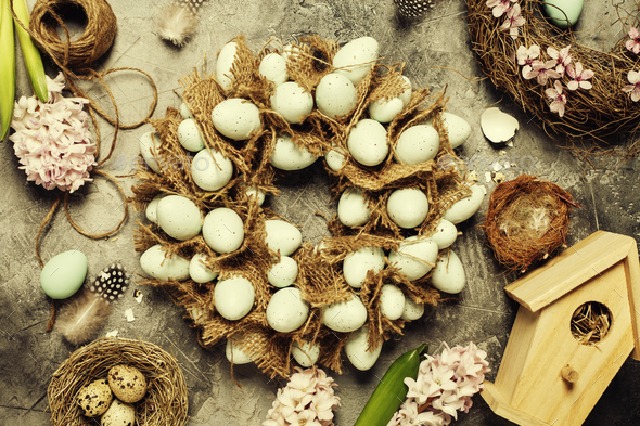 Easter egg wreath - Stock Photo - Images