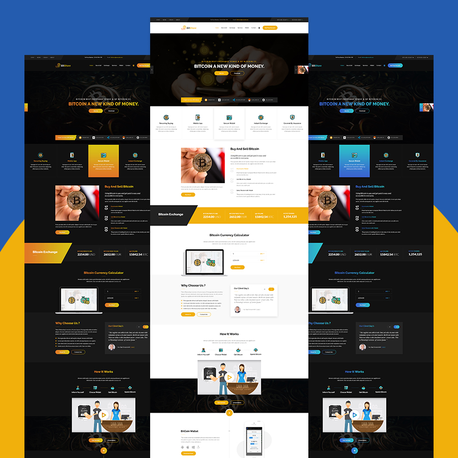Bit Share - Bitcoin Crypto Currency PSD Template - 1