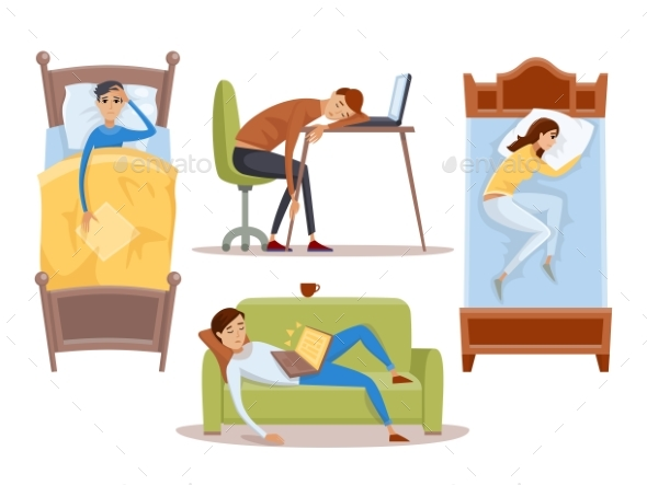 Sleeping Young Woman at Home Vector Illustration - Sports/Activity Conceptual