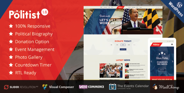 Political WordPress Theme | Political Candidate - Political Nonprofit