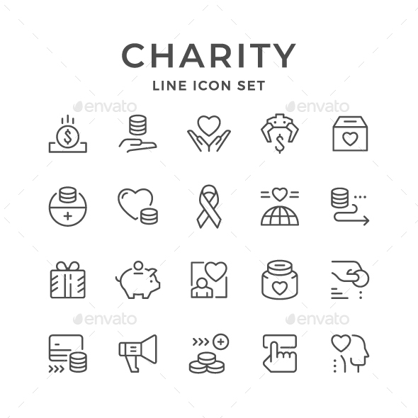 Set Line Icons of Charity - Man-made objects Objects