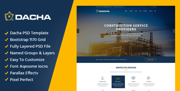 Dacha – Construction PSD Template