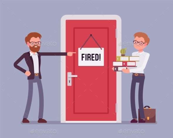 Fired Office Worker and Boss - Business Conceptual
