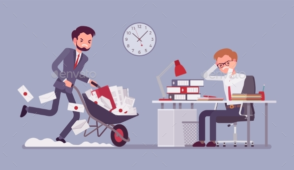 Overworked in the Office - Business Conceptual
