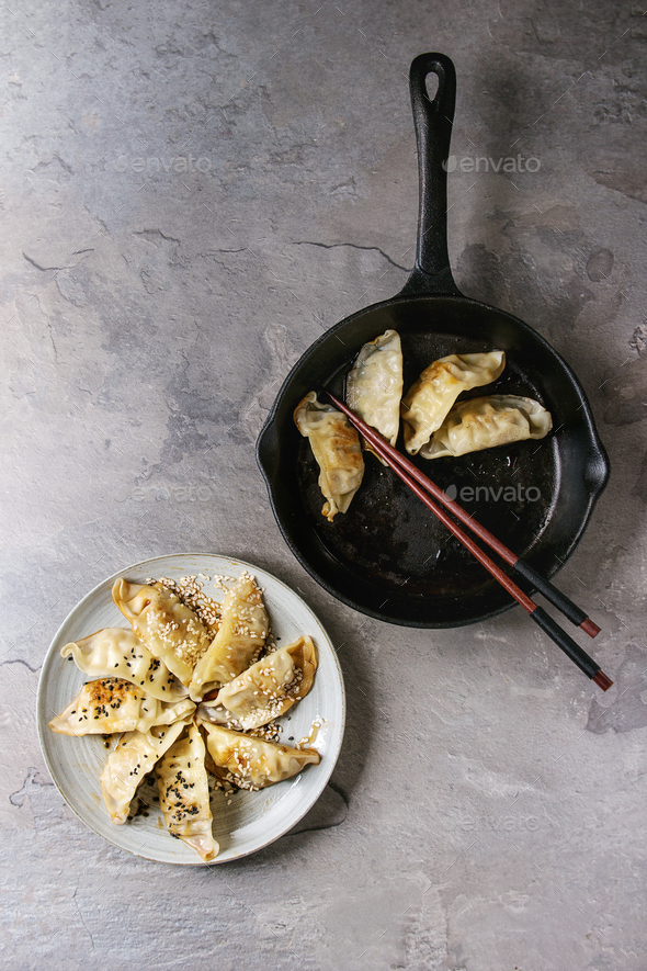 Gyozas potstickers asian dumplings - Stock Photo - Images