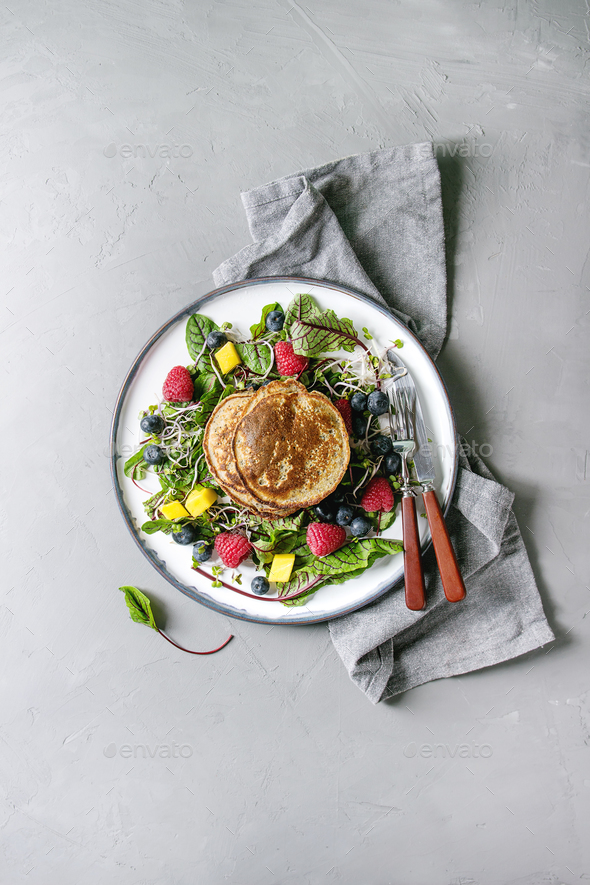 Vegan pancakes with greens - Stock Photo - Images