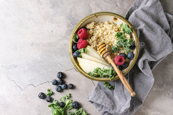 Quinoa porrige with kale - Stock Photo - Images