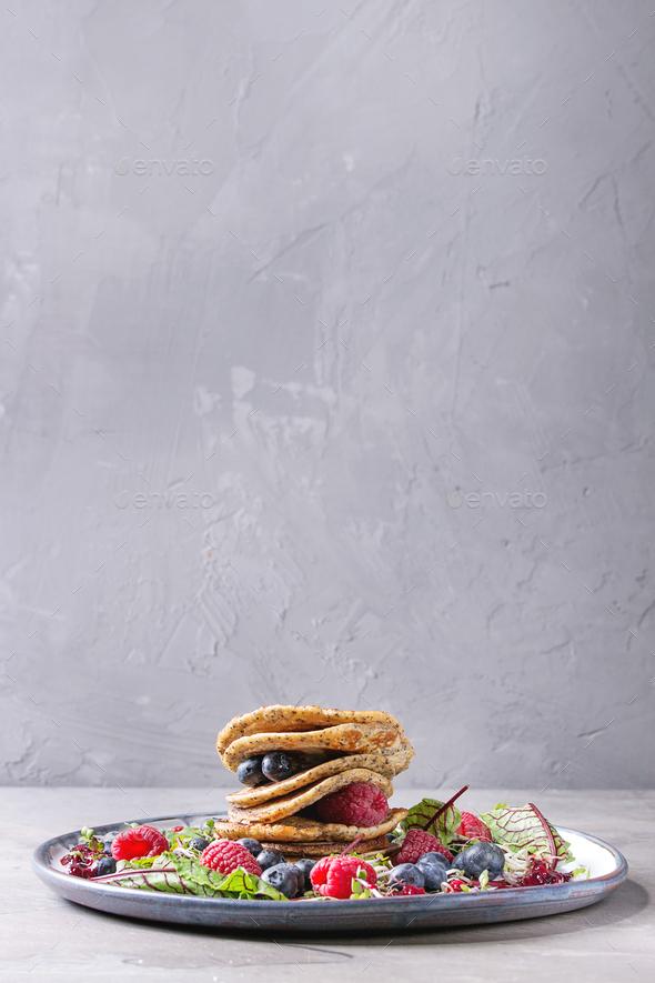 Vegan pancakes with greens - Stock Photo - Images