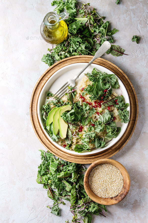 Quinoa salad with kale - Stock Photo - Images