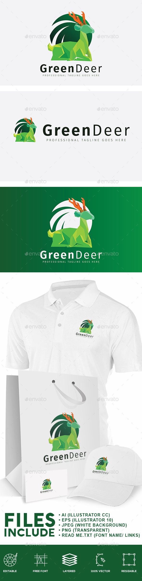 Green Deer Logo - Animals Logo Templates