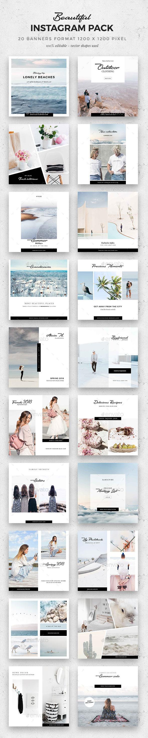 Beautiful Instagram Pack - Social Media Web Elements