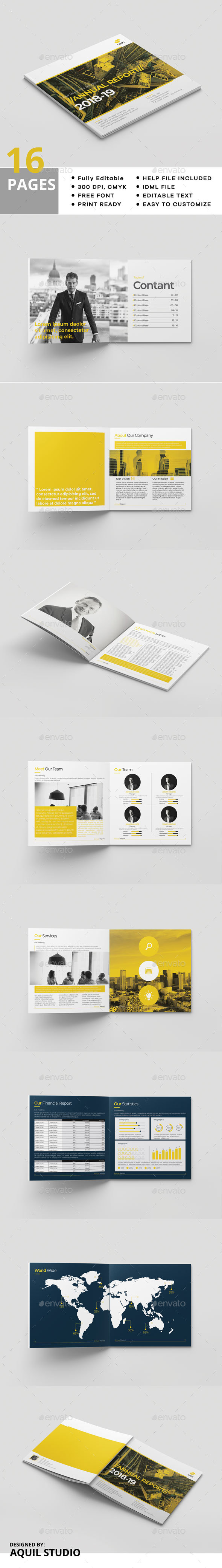 Square Annual Report 16 Pages - Brochures Print Templates