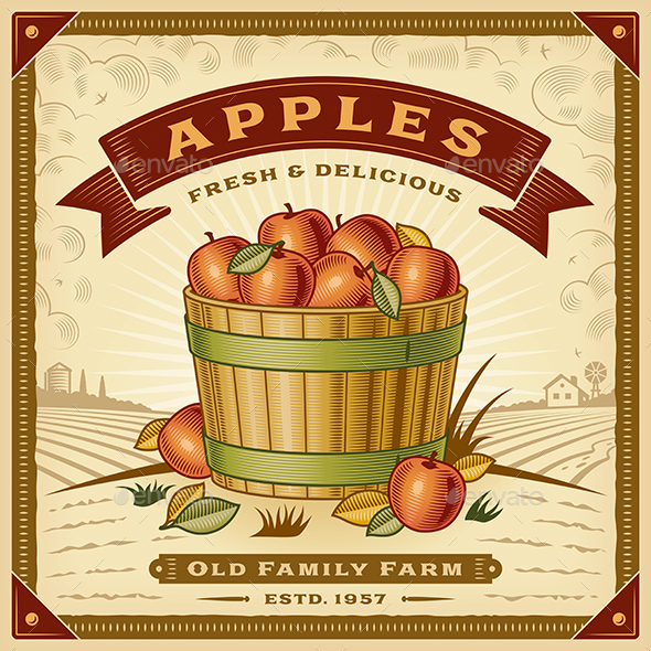 Retro Apple Harvest Label With Landscape - Food Objects