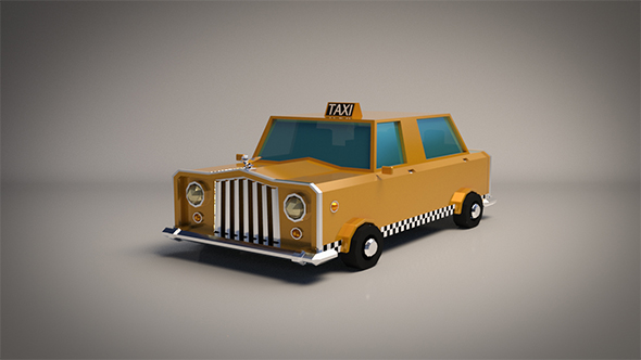Low-Poly Cartoon Taxi Cab - 3DOcean Item for Sale