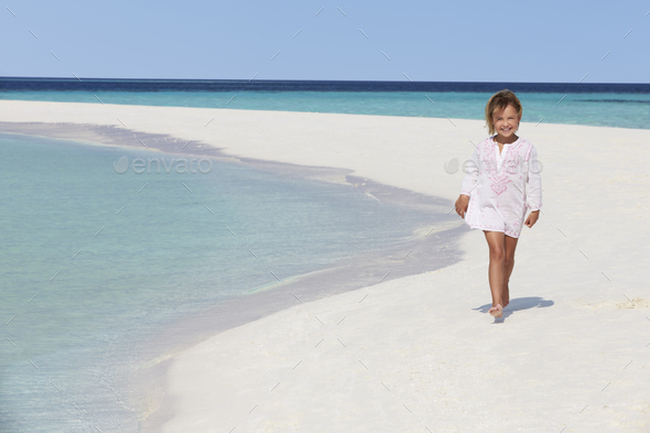 Girl Walking On Beautiful Tropical Beach - Stock Photo - Images