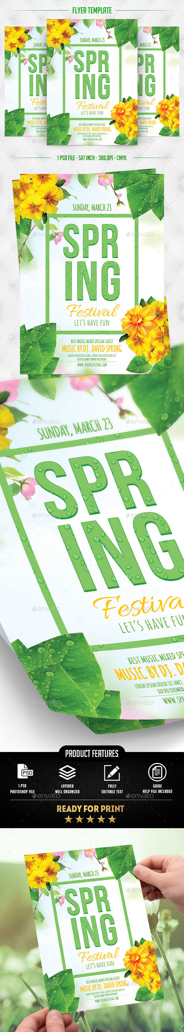 Spring Festival Flyer Template - Flyers Print Templates