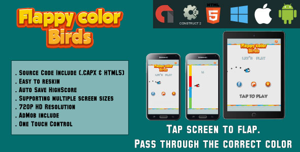 Flappy color birds - HTML5 Game - Mobile - (.CAPX & HTML) - CodeCanyon Item for Sale