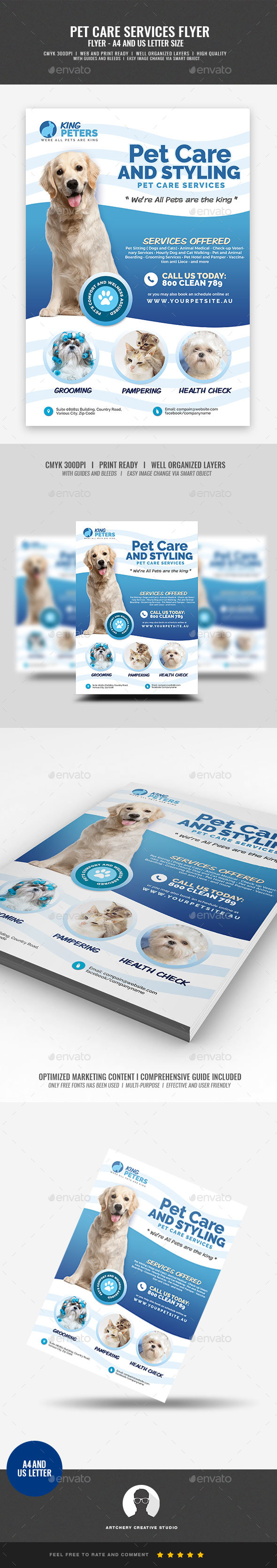 Pet Grooming and Care Service Flyer - Commerce Flyers