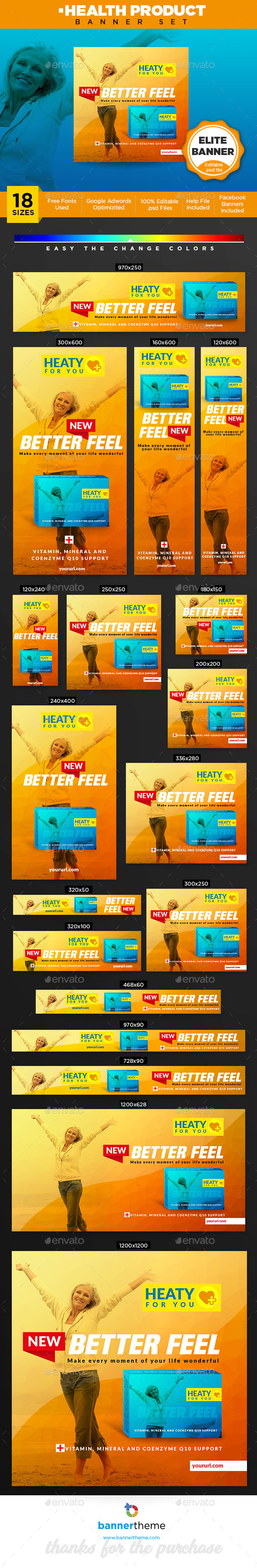 Health Product Banner - Banners & Ads Web Elements