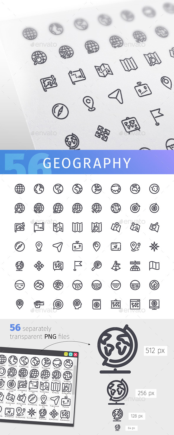 Geography Line Icons Set - Man-made objects Objects