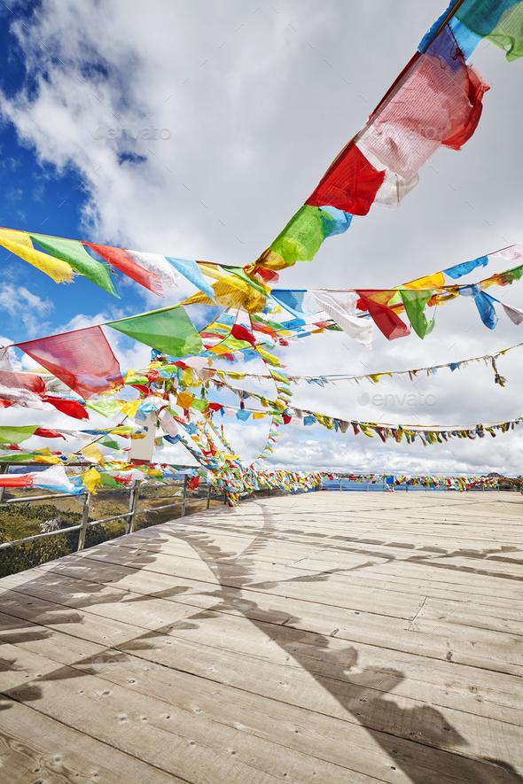 Buddhist prayer flags, Shika Snow Mountain area, China. - Stock Photo - Images