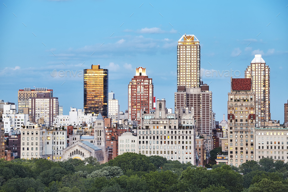 New York City skyline over the Central Park, USA. - Stock Photo - Images