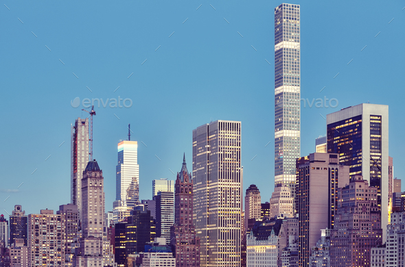 New York City skyline at dusk, USA. - Stock Photo - Images