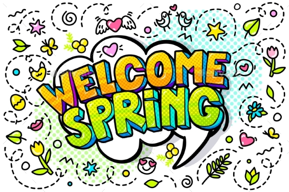Welcome Spring Word Bubble - Miscellaneous Vectors
