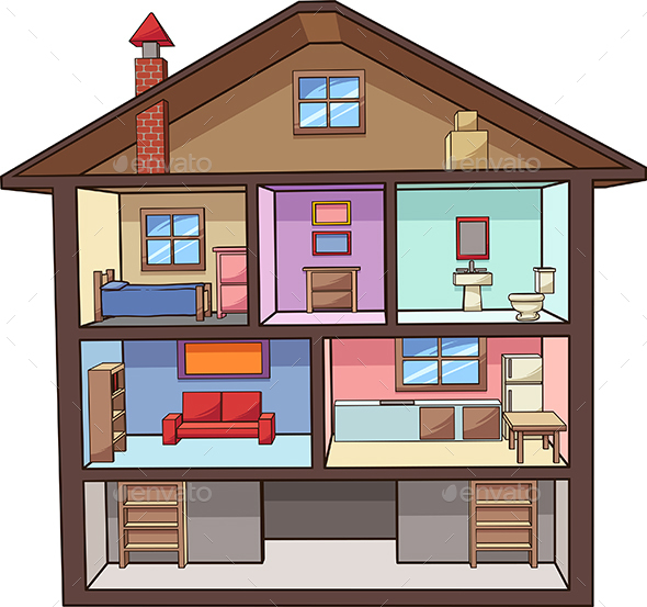 Cartoon House Interior - Buildings Objects